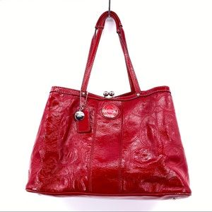 Coach Cherry Patent Red Leather Satchel